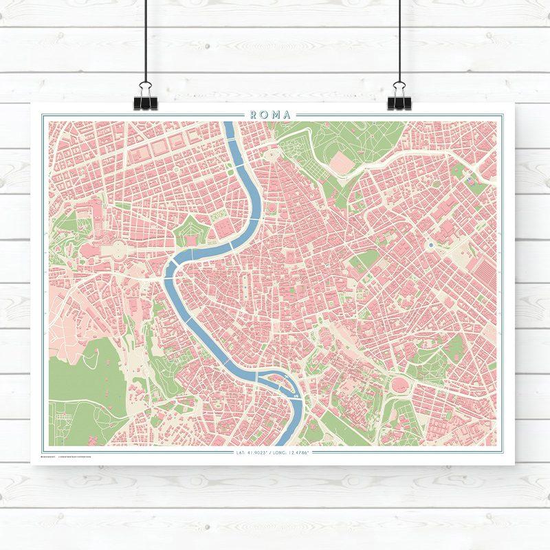 Mapa estilo vintage de Roma