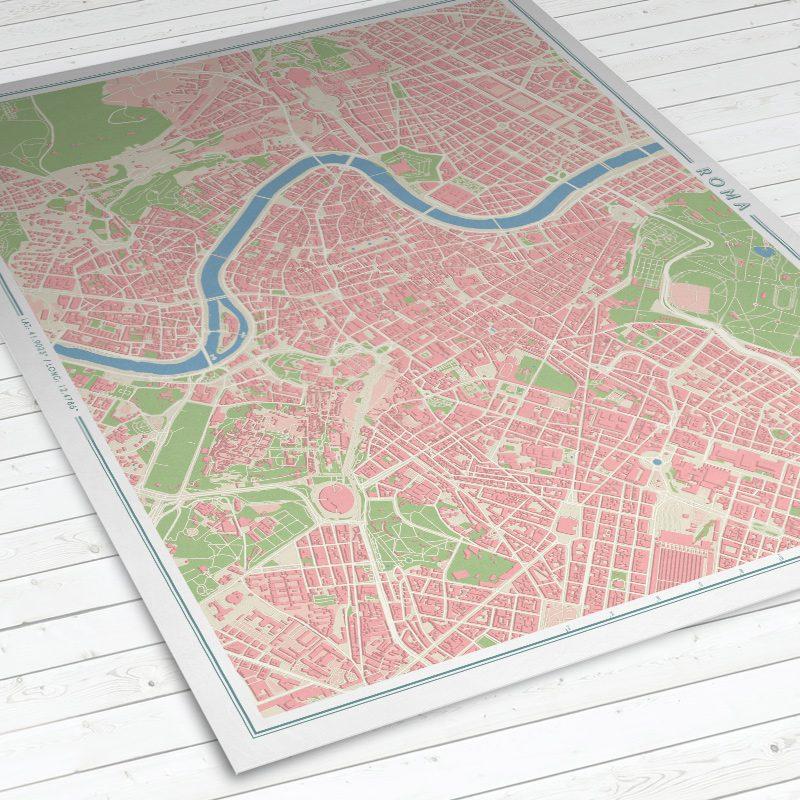 Vista del mapa de Roma con estilo Vintage