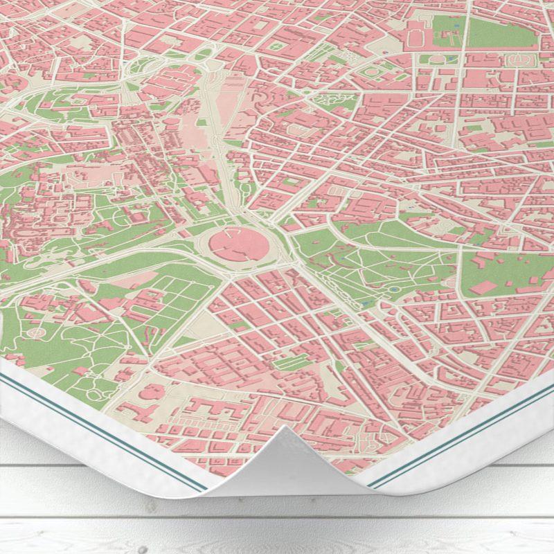 Detalle del mapa de Roma con estilo Vintage