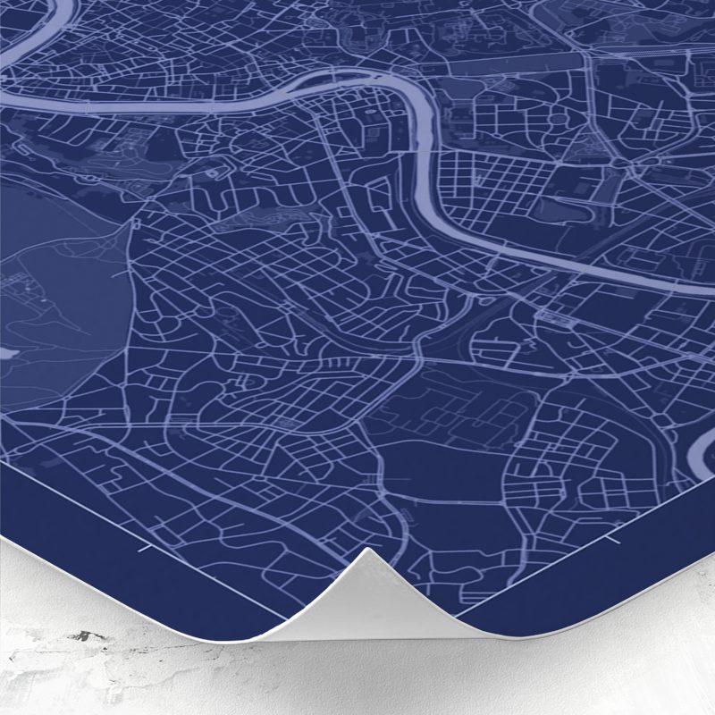 Detalle del mapa de estilo Blueprint de Roma