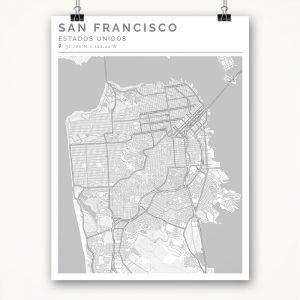 Mapa con estilo Clean de San Francisco - 30 x 40