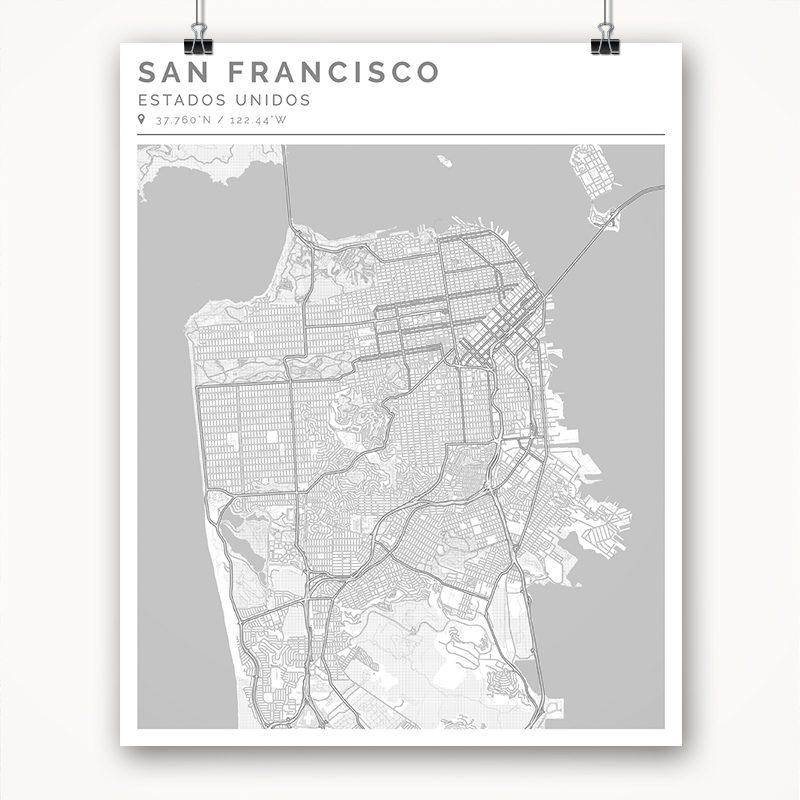 Mapa con estilo Clean de San Francisco - 40 x 50