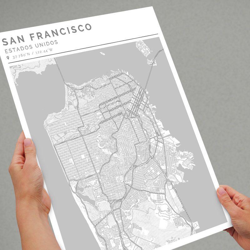Mapa con estilo Clean de San Franciasco