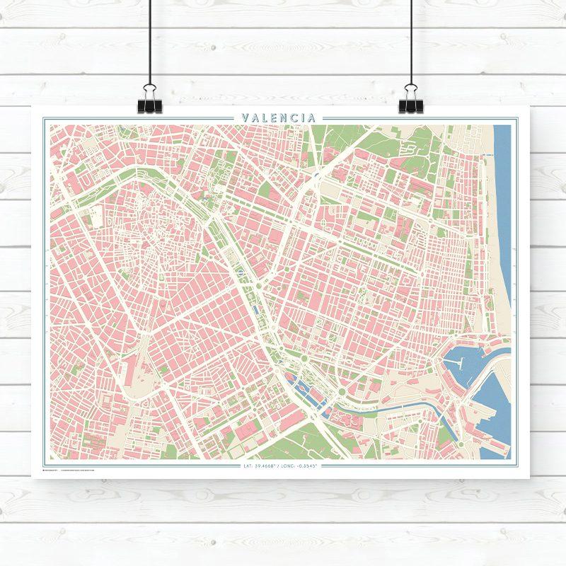 Mapa estilo vintage de Valencia