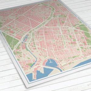 Vista del mapa de Valencia con estilo Vintage