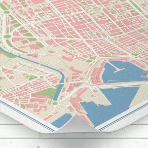 Detalle del mapa de Valencia con estilo Vintage