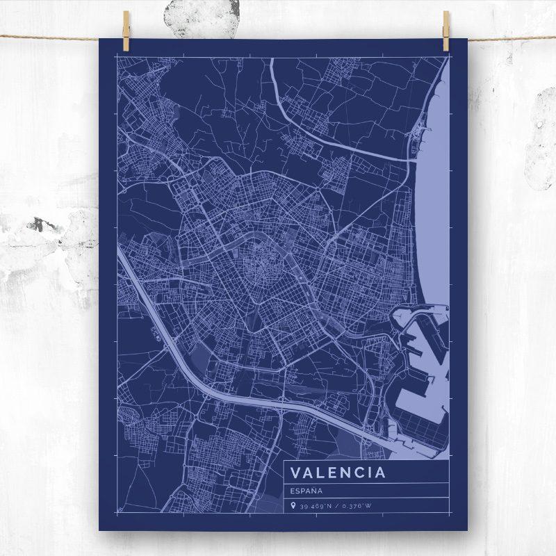 Mapa de estilo Blueprint de Valencia
