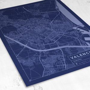 Vista del mapa de estilo Blueprint de Valencia