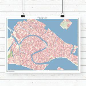 Mapa estilo vintage de Venecia