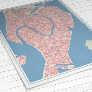 Vista del mapa de Venecia con estilo Vintage