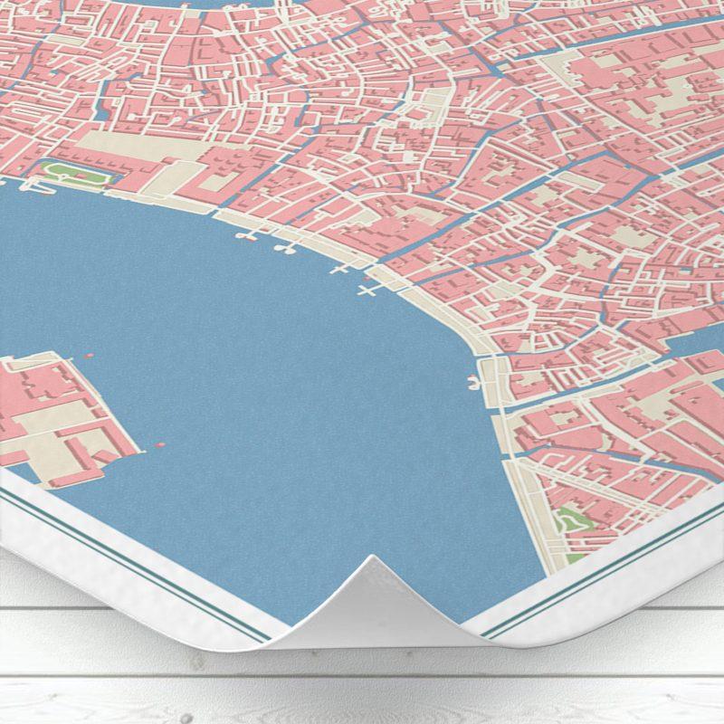 Detalle del mapa de Venecia con estilo Vintage