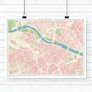 Mapa estilo vintage de Zaragoza