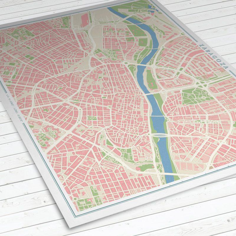 Vista del mapa de Zaragoza con estilo Vintage