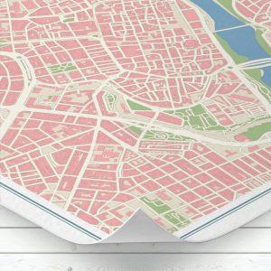 Detalle del mapa de Zaragoza con estilo Vintage
