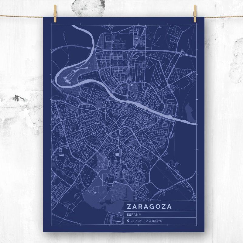 Mapa de estilo Blueprint de Zaragoza
