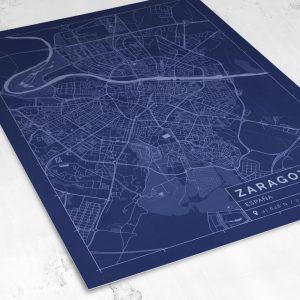 Vista del mapa de estilo Blueprint de Zaragoza