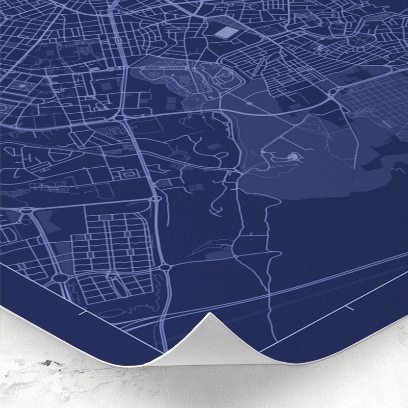 Detalle del mapa de estilo Blueprint de Zaragoza