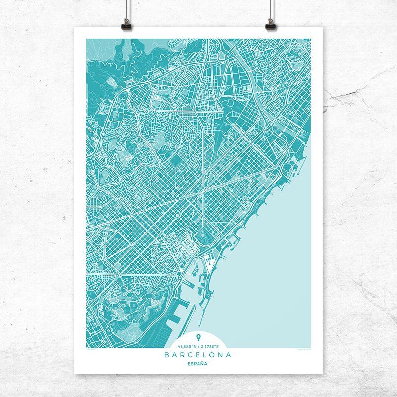 Mapa de Barcelona en color deep blue