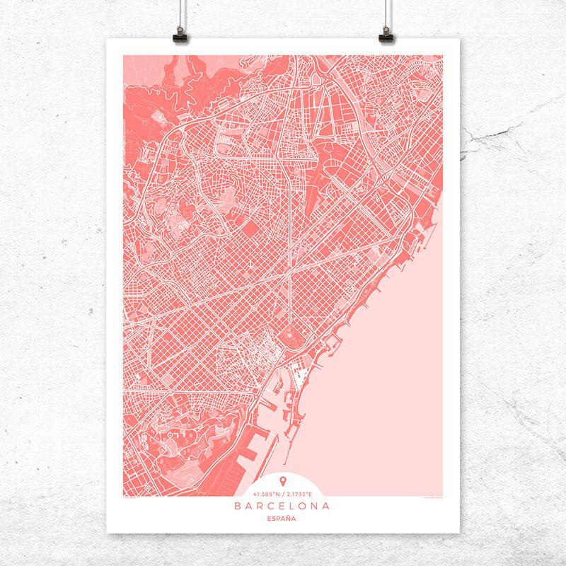 Mapa de Barcelona en color bermellón