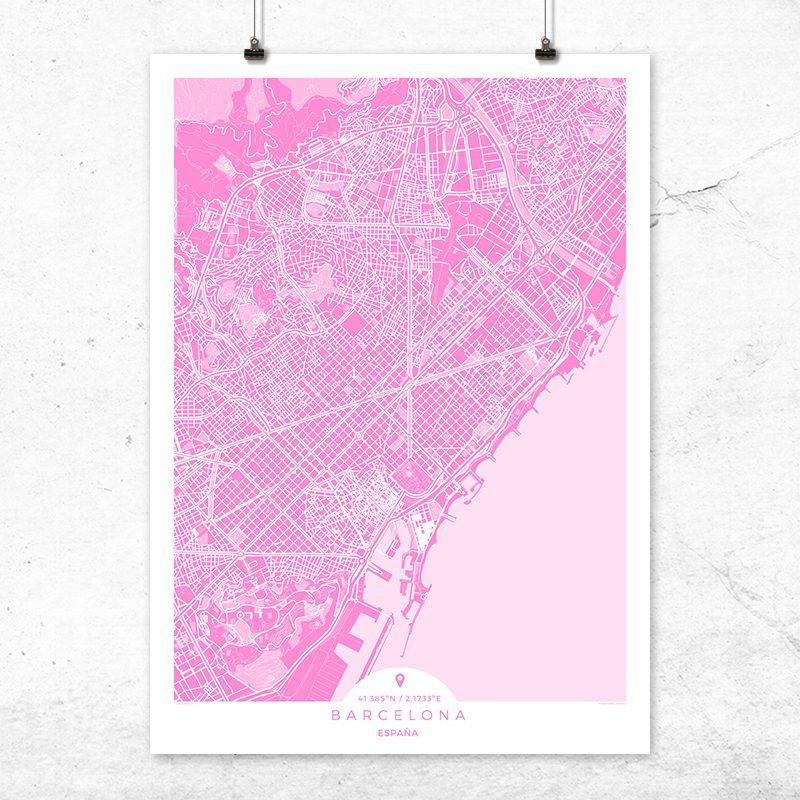 Mapa de Barcelona en color fucsia