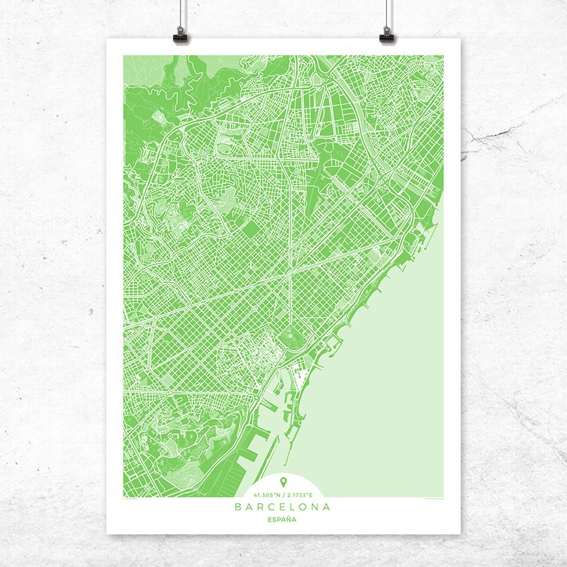 Mapa de Barcelona en color greenery