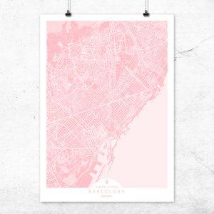 Mapa de Barcelona en color rosa quartz