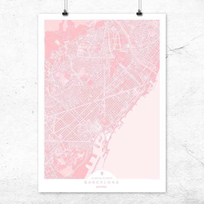 Mapa de Barcelona en color rosa quartz