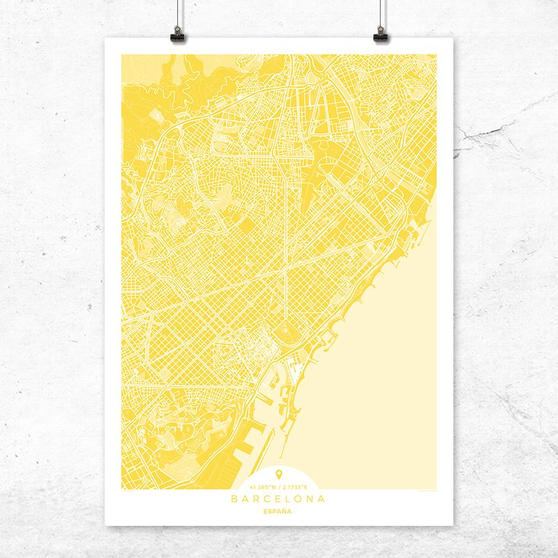 Mapa de Barcelona en color vainilla