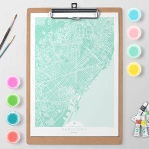 Mapa de Barcelona en Color Block d