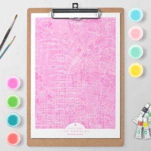 Mapa de Los Ángeles en Color Block d