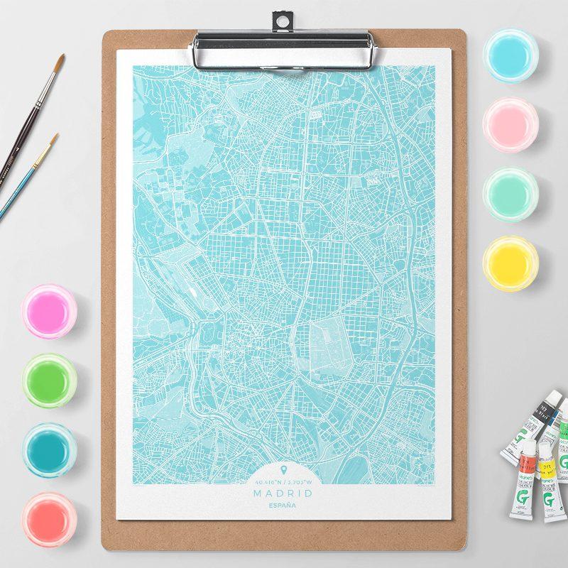 Mapa de Madrid en Color Block d