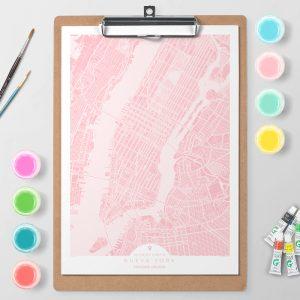 Mapa de Nueva York en Color Block d