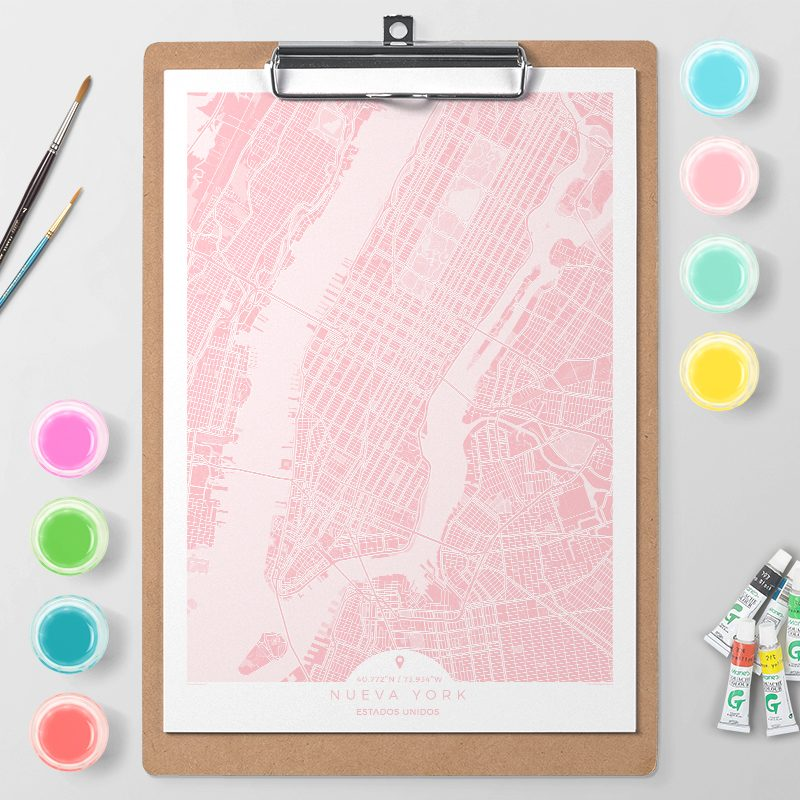 Mapa de Nueva York en Color Block d