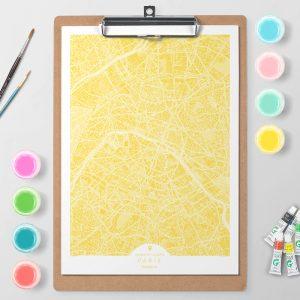 Mapa de París en Color Block d