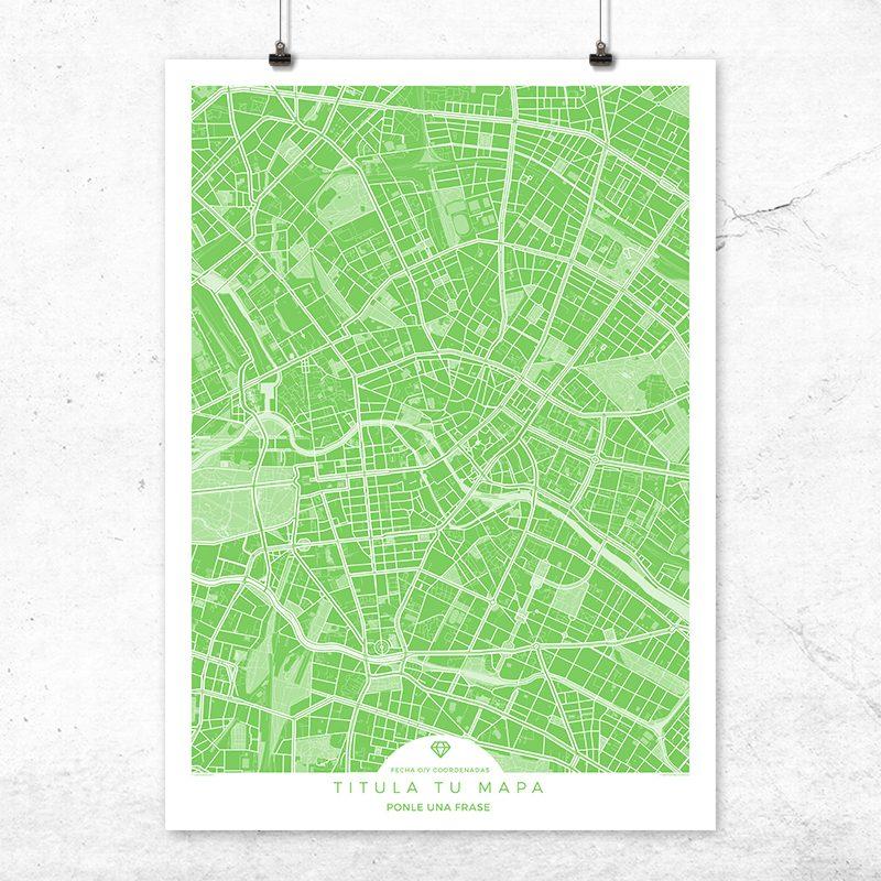 Mapa para personalizar en color greenery