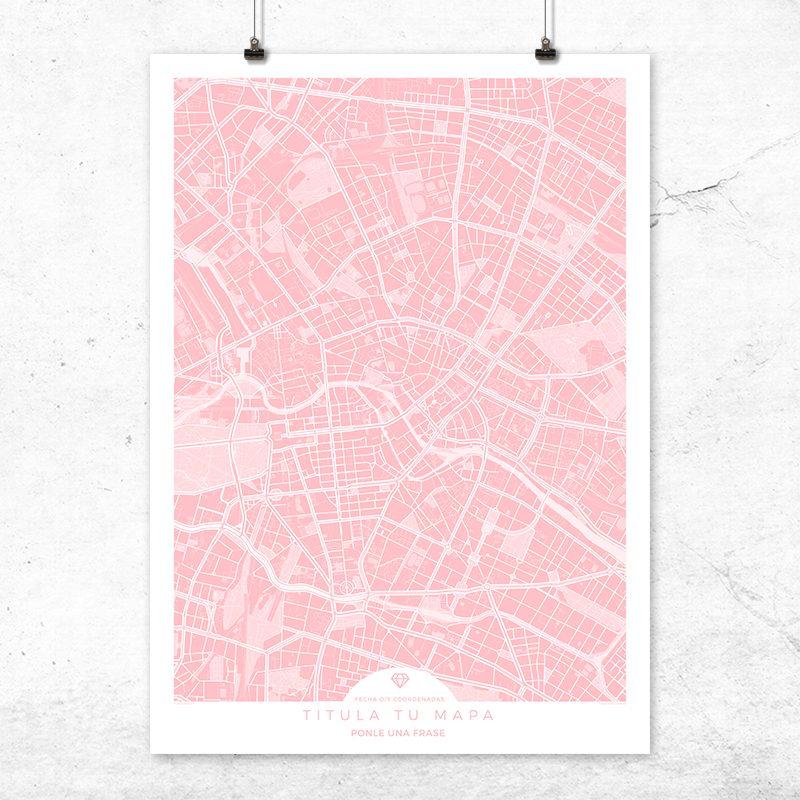 Mapa para personalizar en color rosa quartz