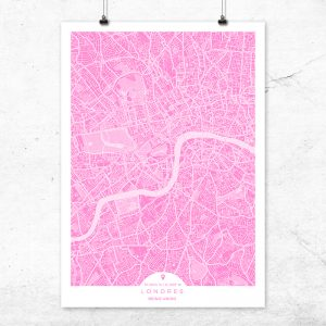 Mapa de Londres en color fucsia