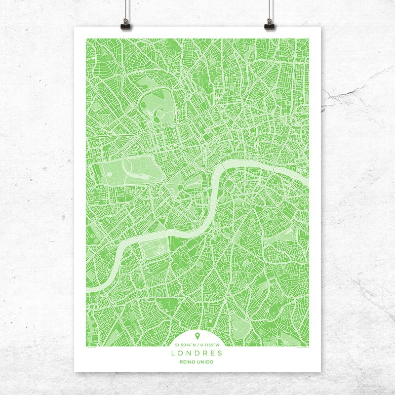 Mapa de Londres en color greenery