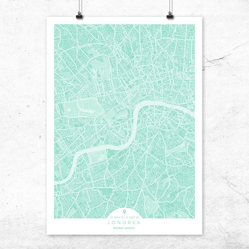 Mapa de Londres en color mint