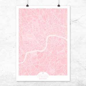 Mapa de Londres en color rosa quartz