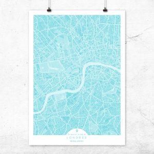 Mapa de Londres en color turquesa