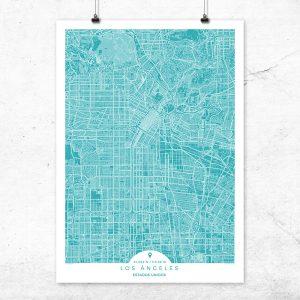 Mapa de Los Ángeles en color Deep Blue