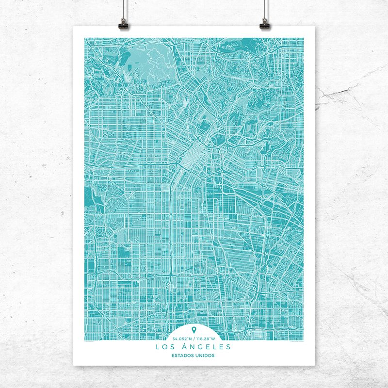 Mapa de Los Ángeles en color Deep Blue