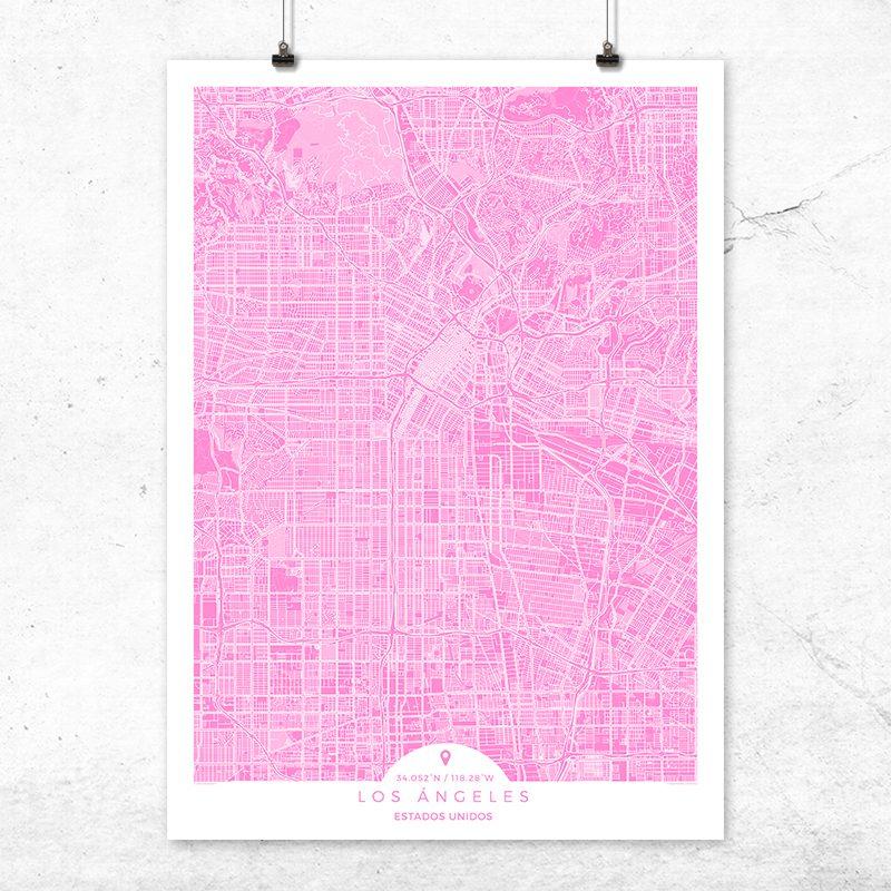 Mapa de Los Ángeles en color Fucsia