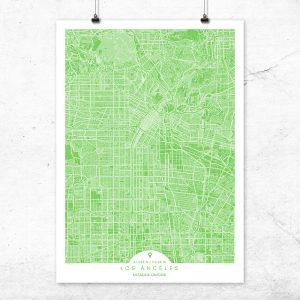 Mapa de Los Ángeles en color Greenery