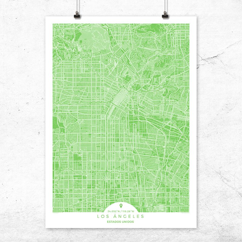 Mapa de Los Ángeles en color Greenery