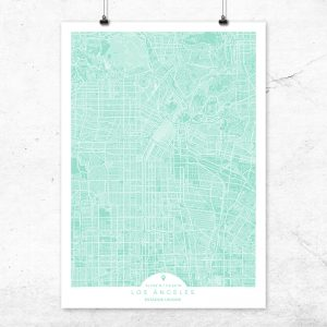 Mapa de Los Ángeles en color Mint