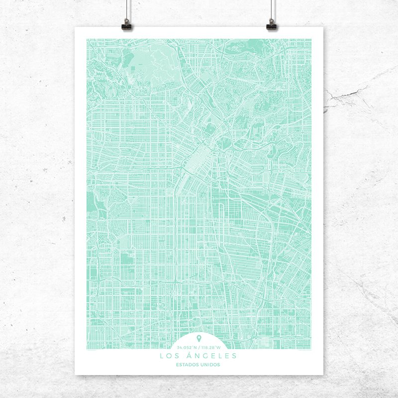 Mapa de Los Ángeles en color Mint