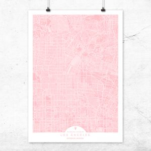 Mapa de Los Ángeles en color rosa quartz