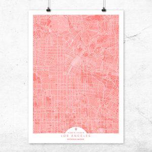 Mapa de Los Ángeles en color Bermellón